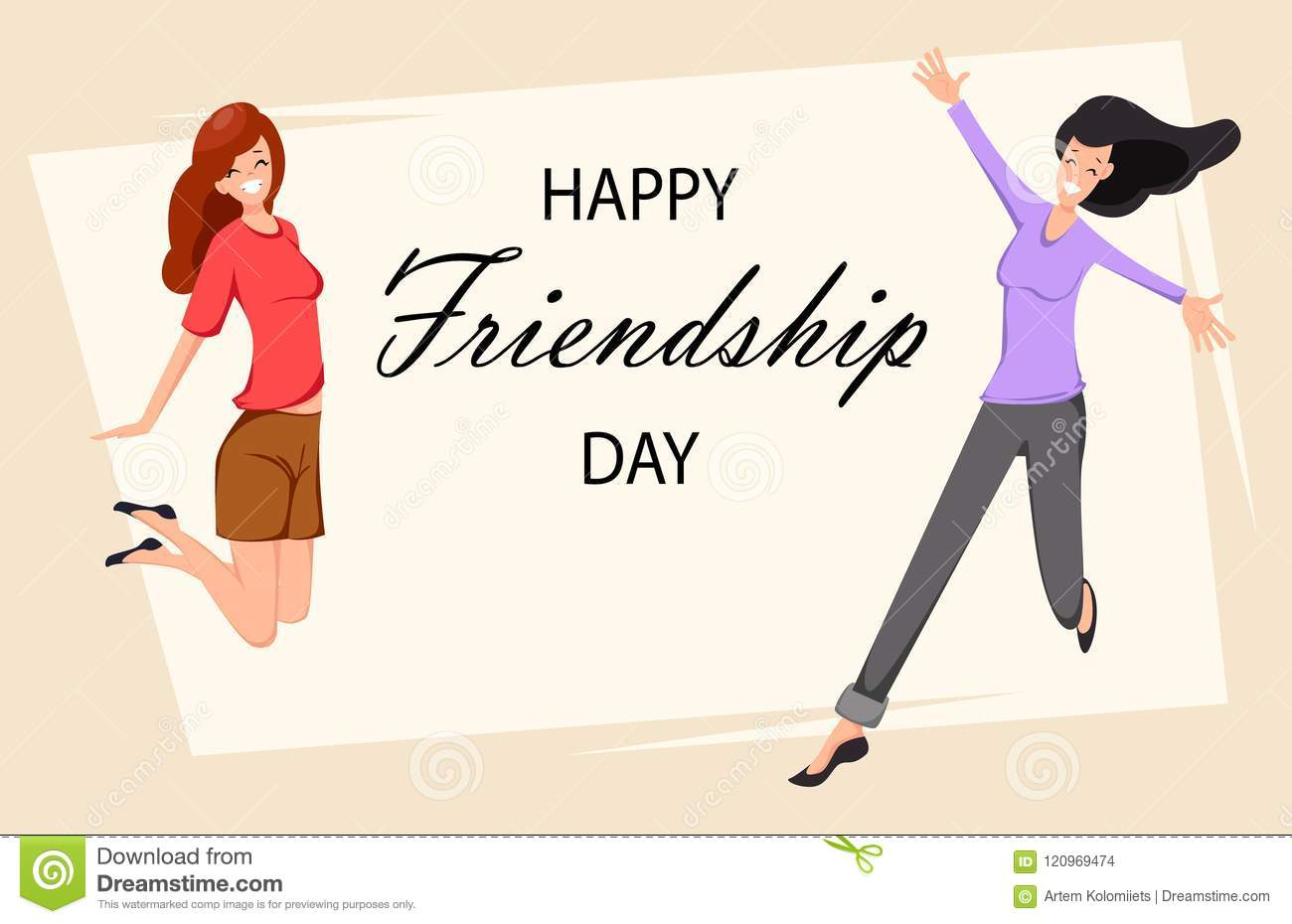 Happy Friendship Day Greeting Card Stock Vector Illustration Of Invitation Character 120969474