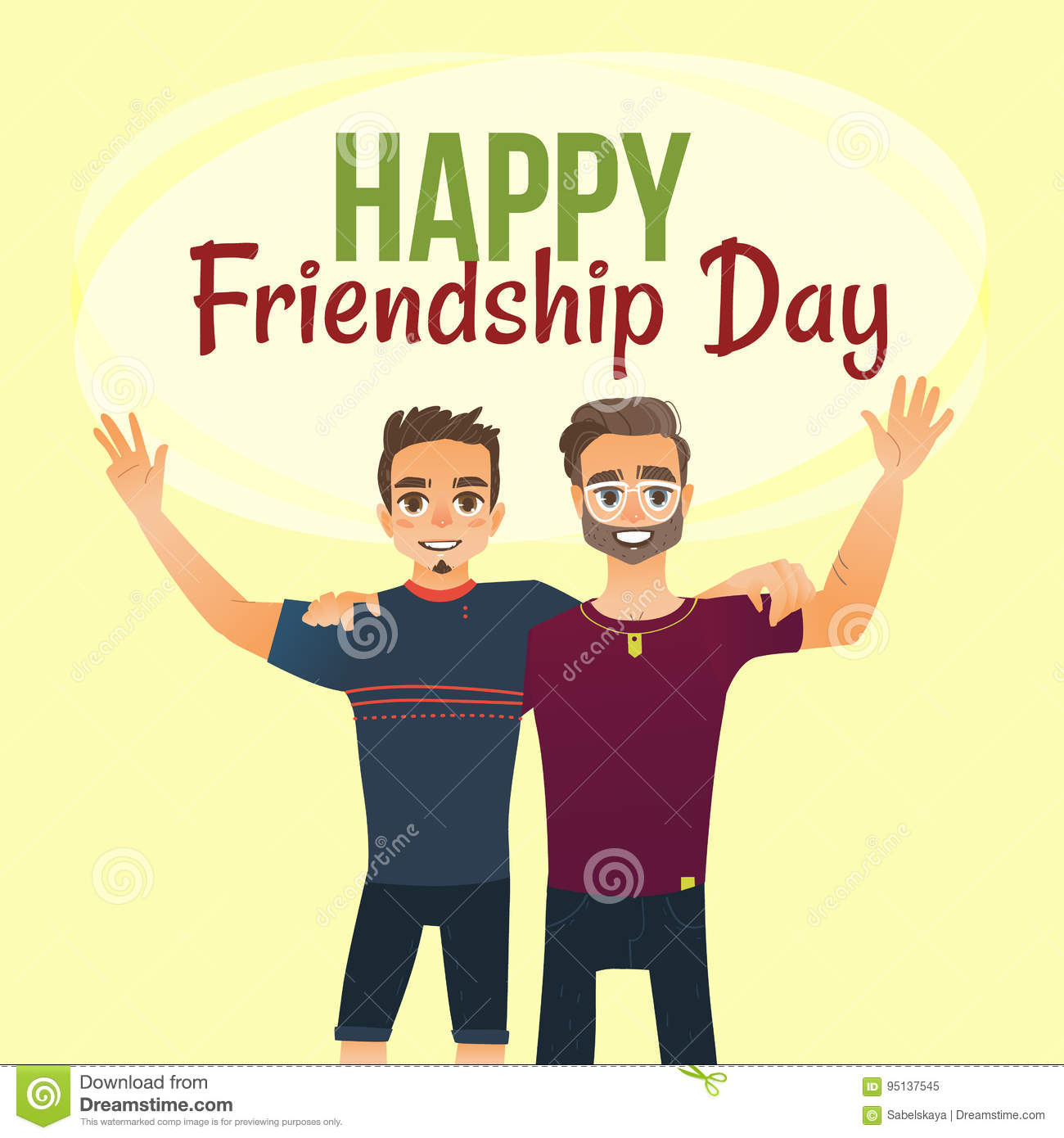 Happy Friendship Day Greeting Card With Two Men Friends Hugging Stock Vector Illustration Of Hand Background 95137545