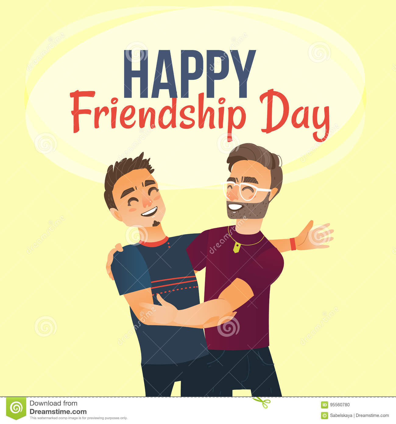 Happy Friendship Day Greeting Card With Two Men Friends Hugging Stock Vector Illustration Of Casual Postcard 95560780