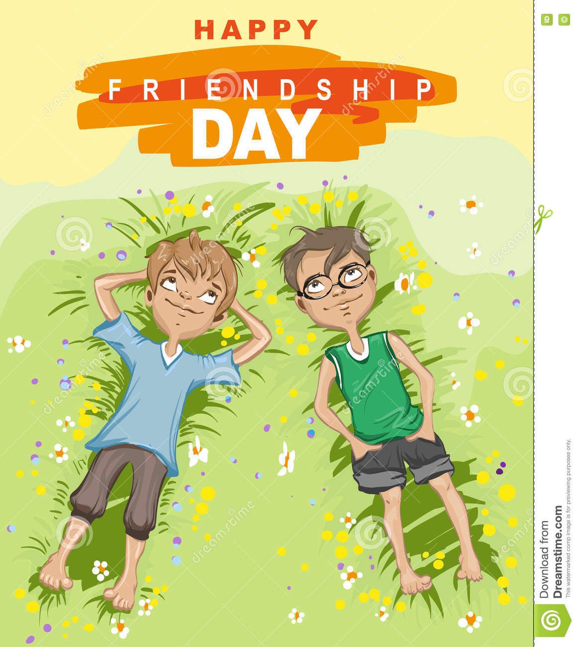 Happy Friendship Day. Two Boy Lying On Green Grass And Looking Up