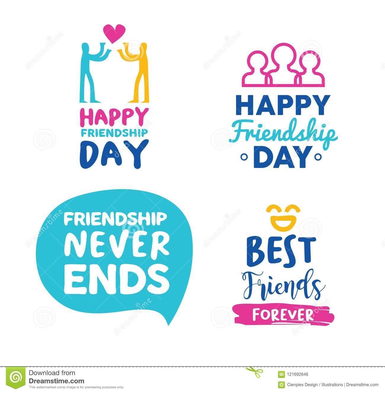 Image of: Sayings Happy Friendship Day Friend Typography Quote Set New Year Wishes 2019 Happy Friendship Day Friend Typography Quote Set Stock Vector