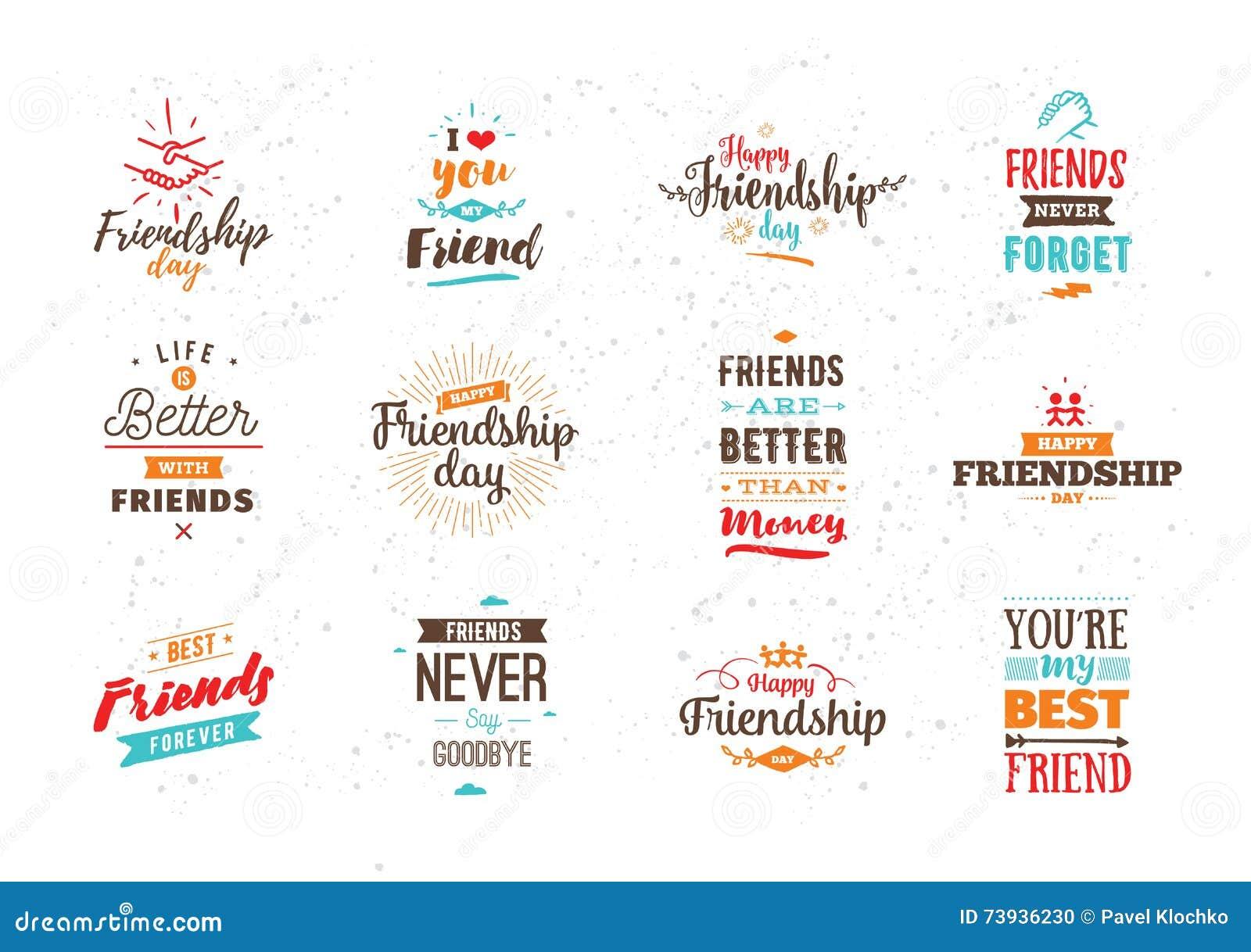 Happy Friendship Day Vector Typographic Design Stock Vector