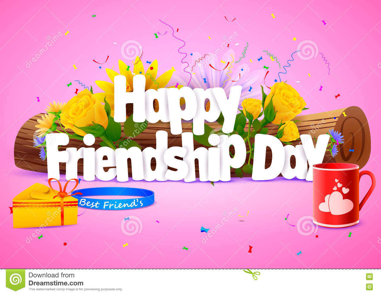 Happy Friendship Day Wallpaper Background Stock Vector