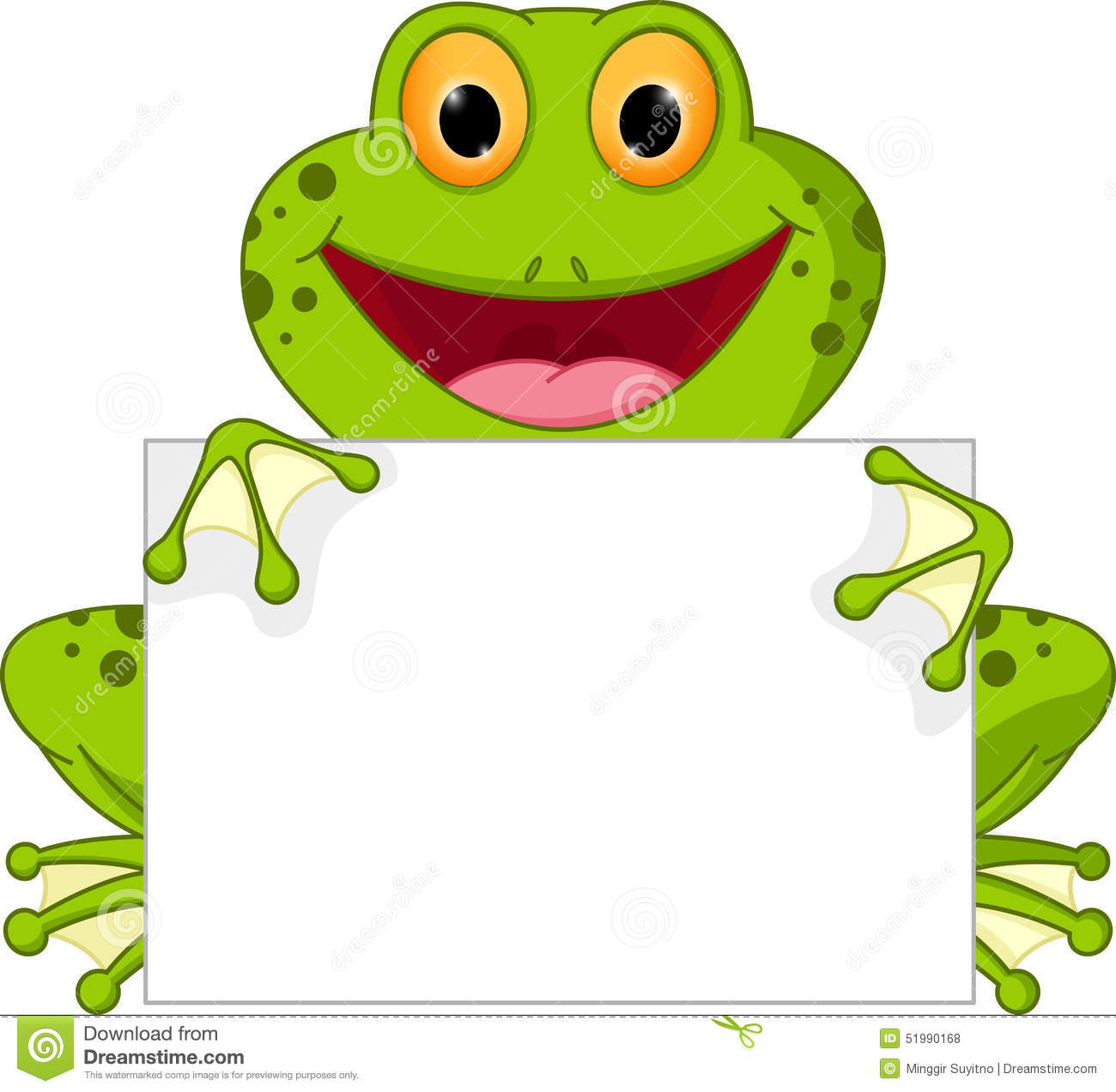 happy frog cartoon with sign stock vector image 51990168