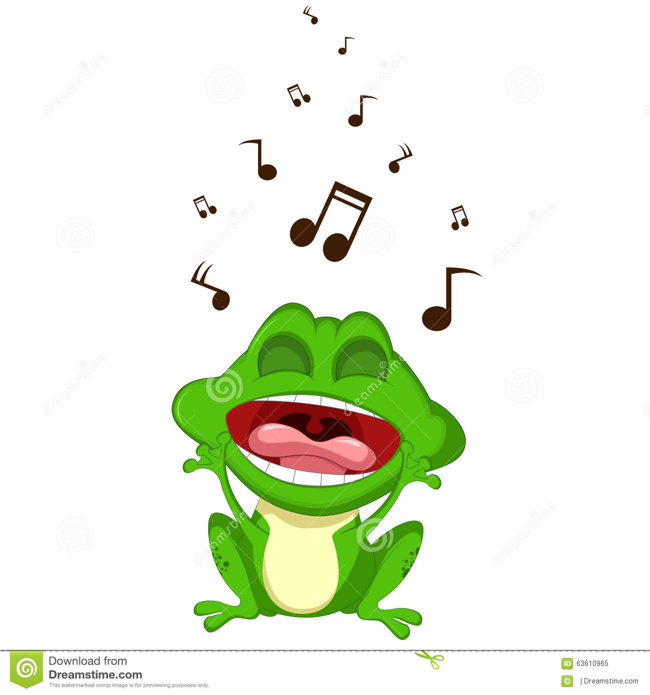 happy frog cartoon singing stock illustration image 63610965 Screaming Banshee Funny Screaming Frog