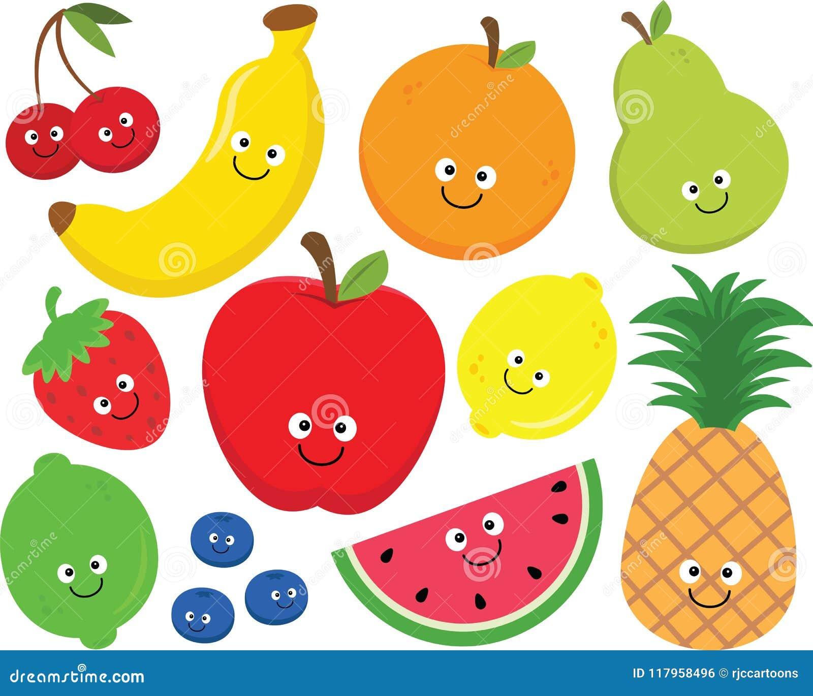 Happy Fruit Clipart Set stock vector. Illustration of ...
