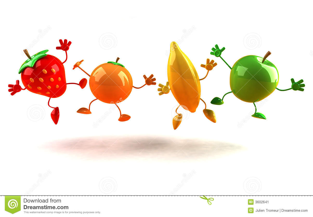 Happy fruits, orange,apple,banana and strawberry.