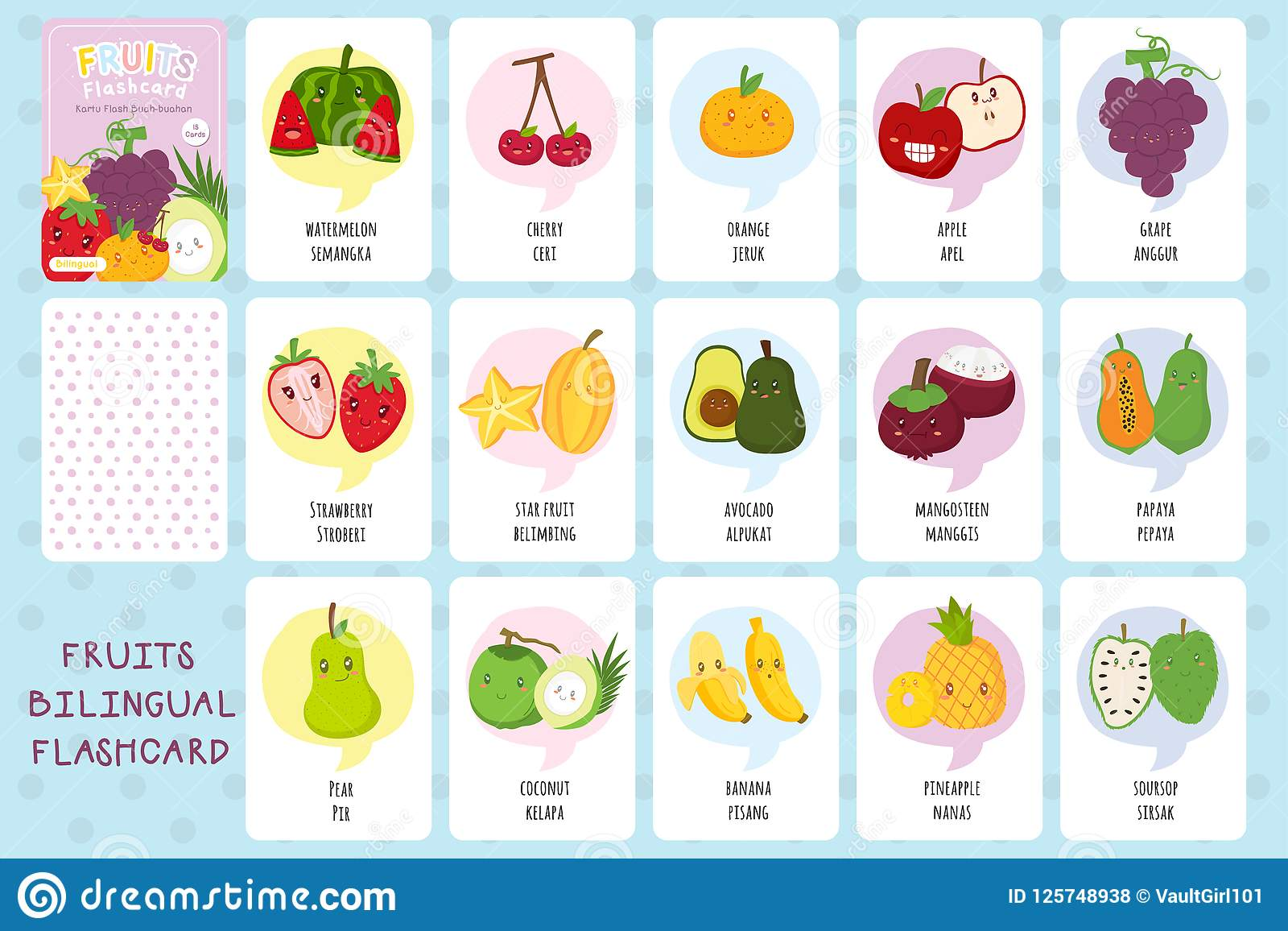 Happy Fruits Flashcards Vector Collection Stock Vector