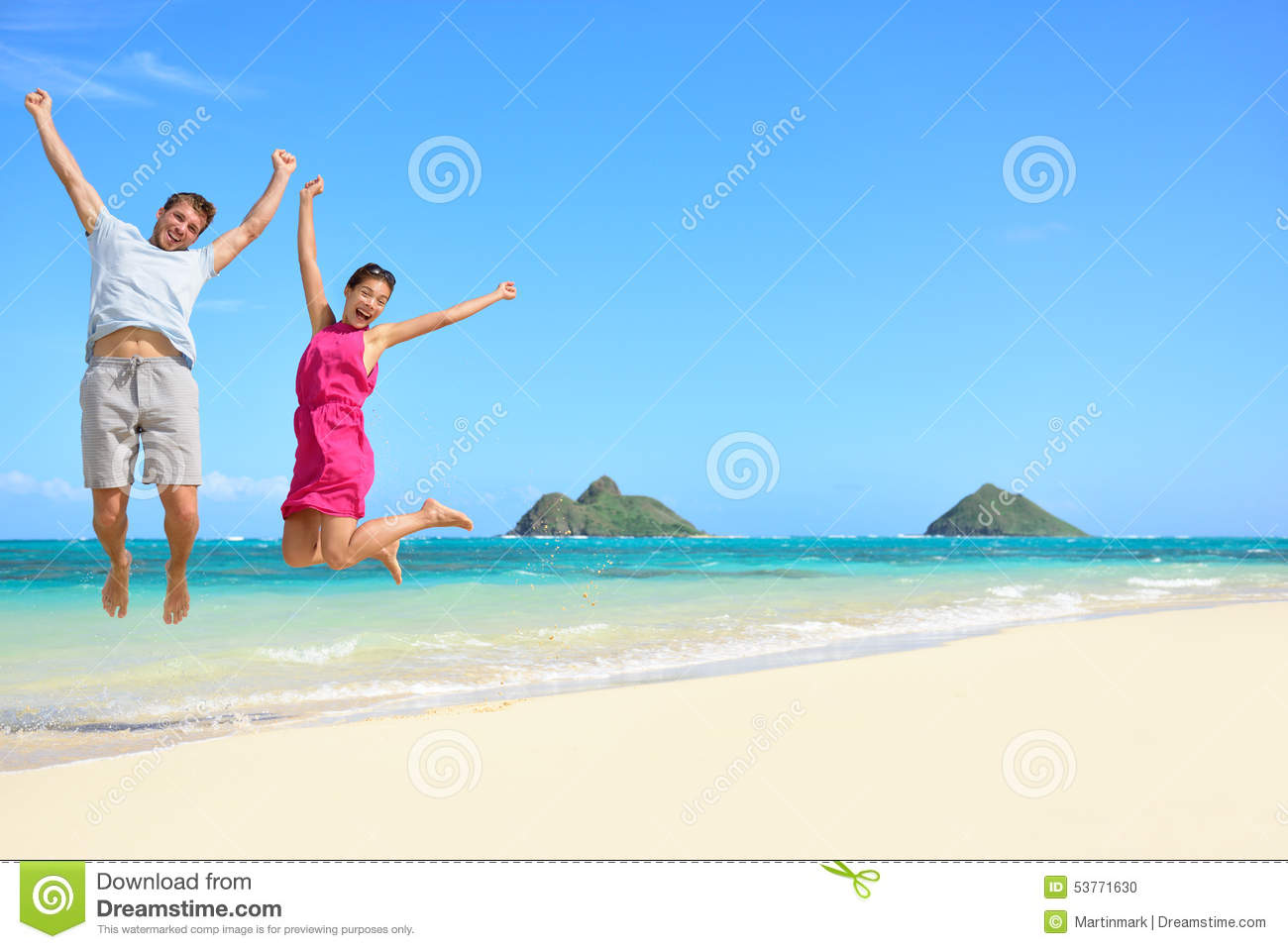 Happy fun tourists couple jumping Beach vacation
