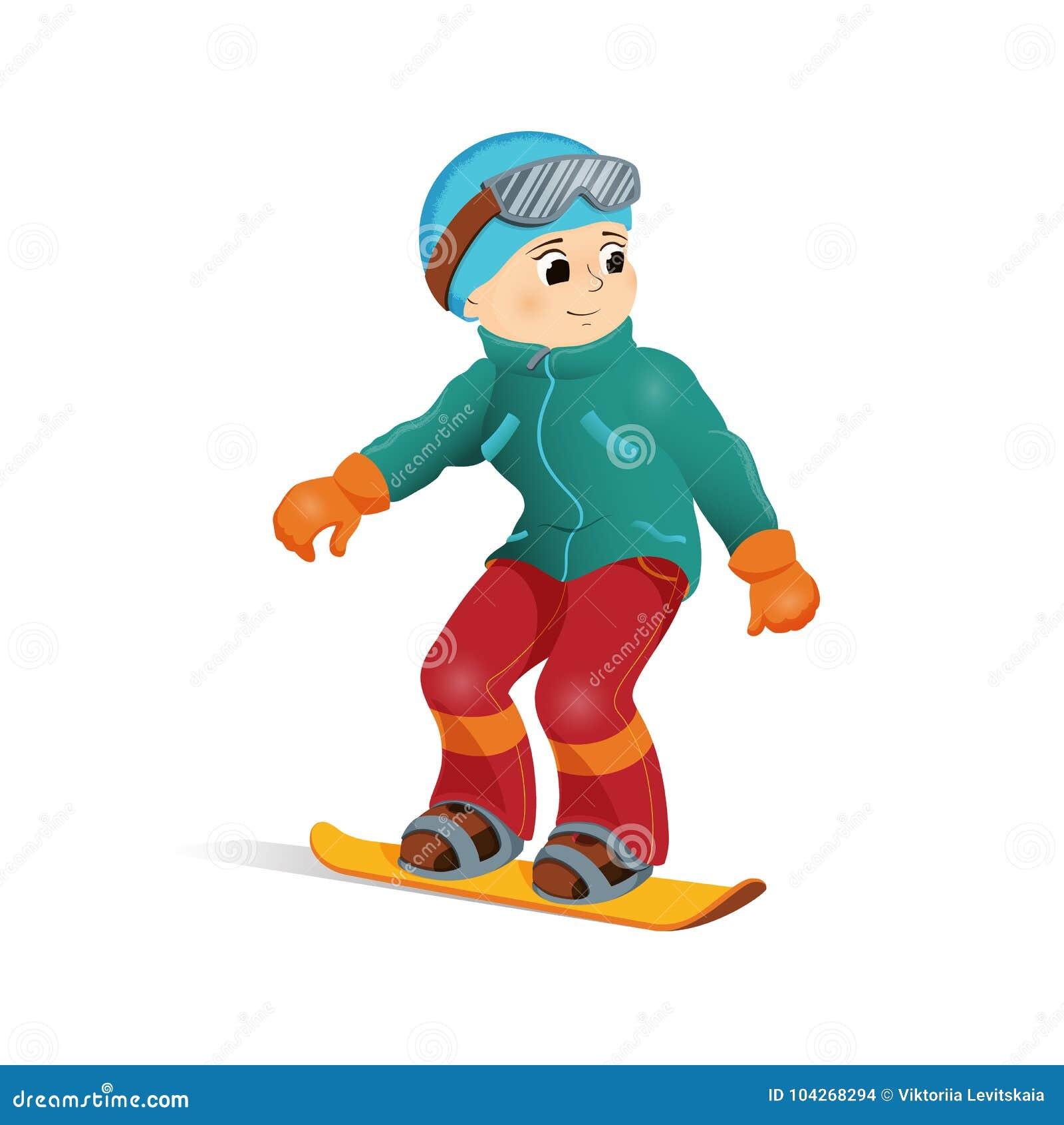 c0830b16155 Happy boy in warm clothes snowboarding downhill