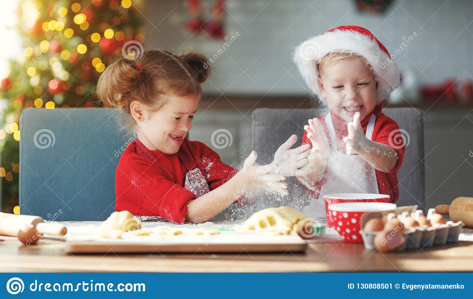 Happy Children Bake Christmas Cookies Stock Image Image Of Family