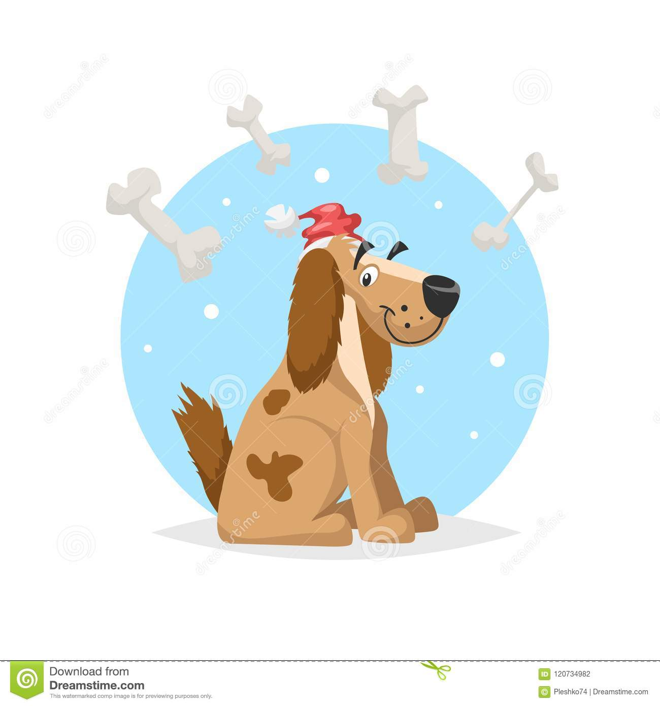06ad23a8b2 Happy Funny Dog Wearing Santa`s Hat With Lot Of Bones. Chinese 2018 ...