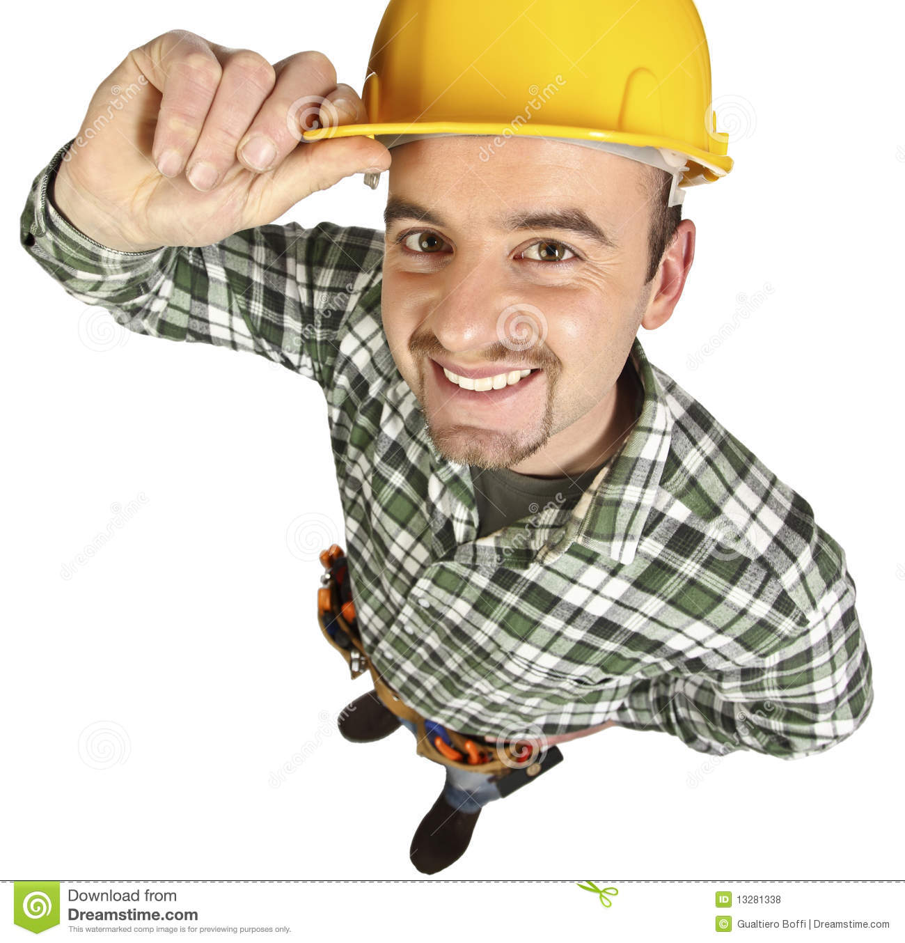 Happy Funny Handyman Stock Photo. Image Of Hammer