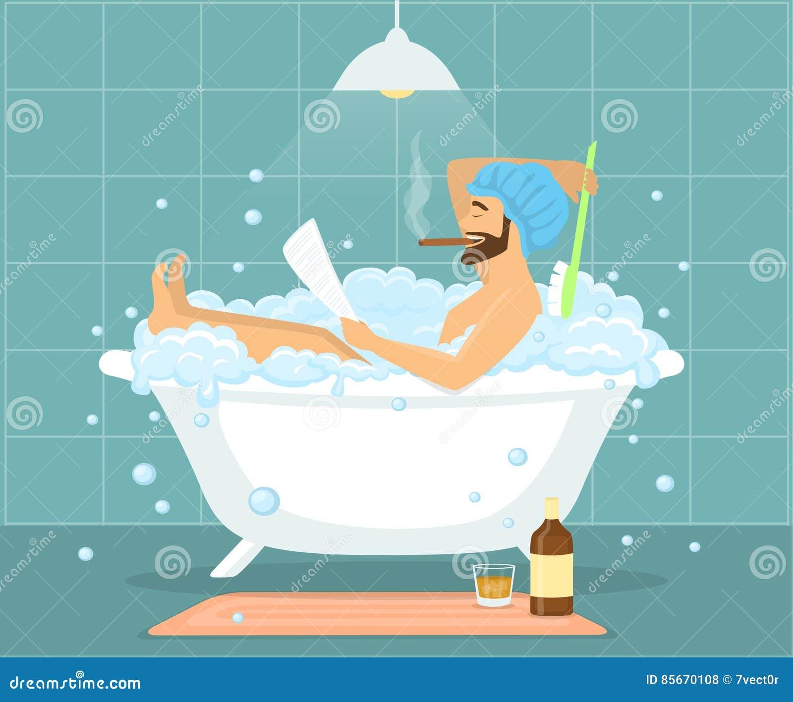 Happy Funny Man Guy Taking Bath In Bubble Vintage Bathtub Stock ...