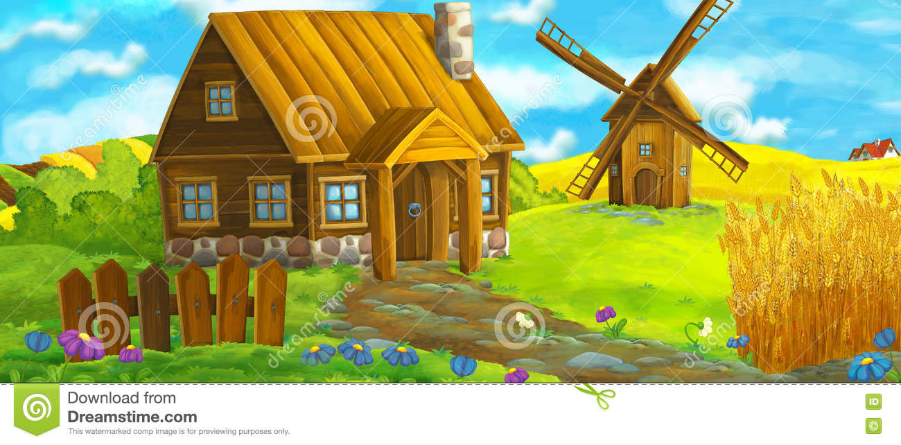 Happy and funny traditional farm scene - stage for different usage