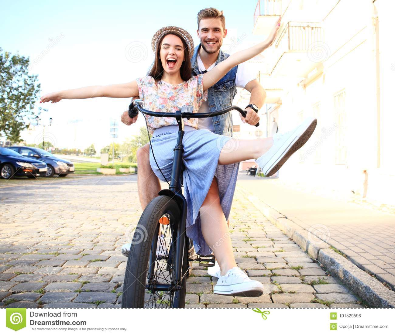 Happy Funny Young Couple Riding On Bicycle Stock Photo Image Of