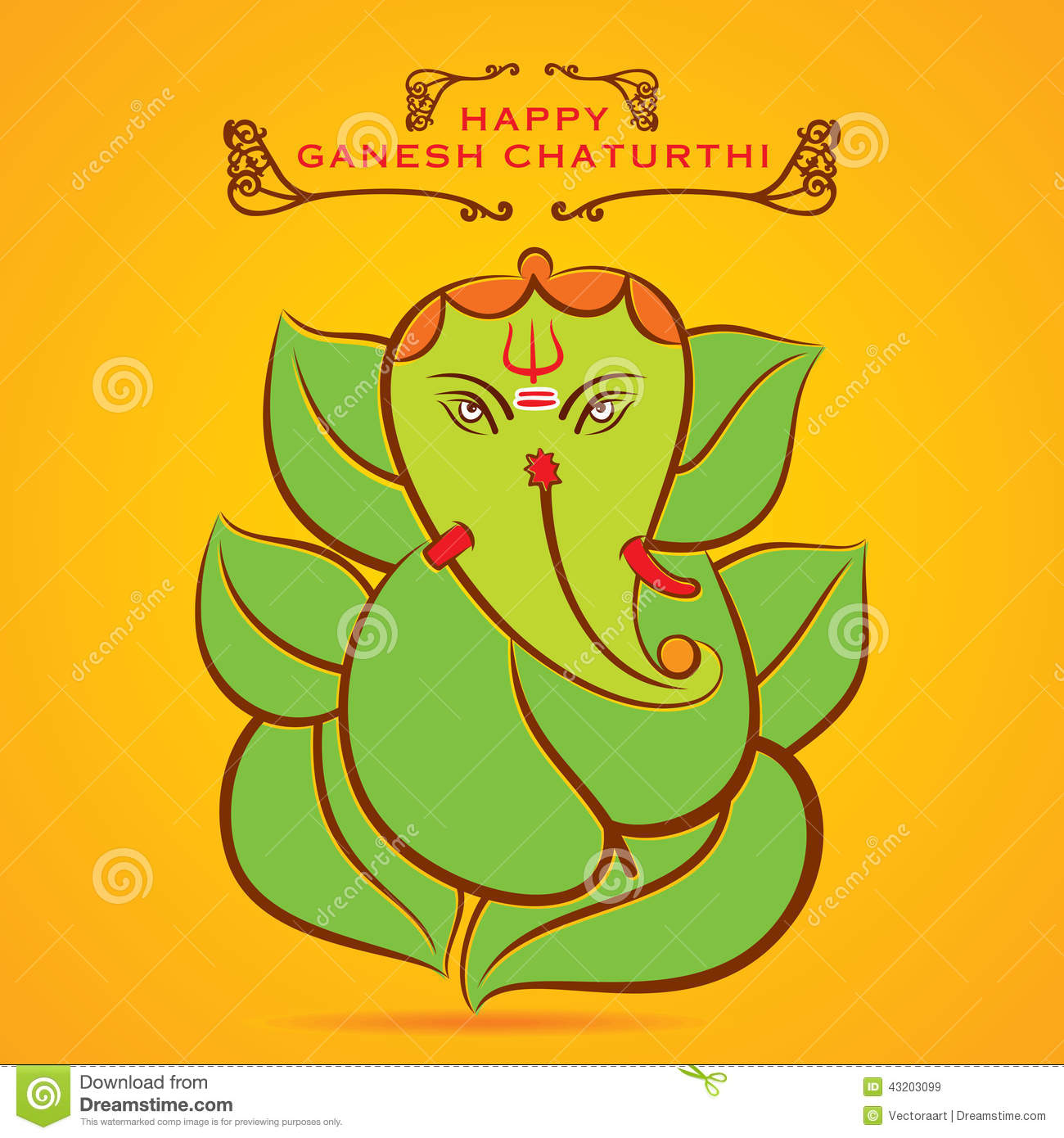 Happy Ganesh Chaturthi Sketch Greeting Card Design Stock
