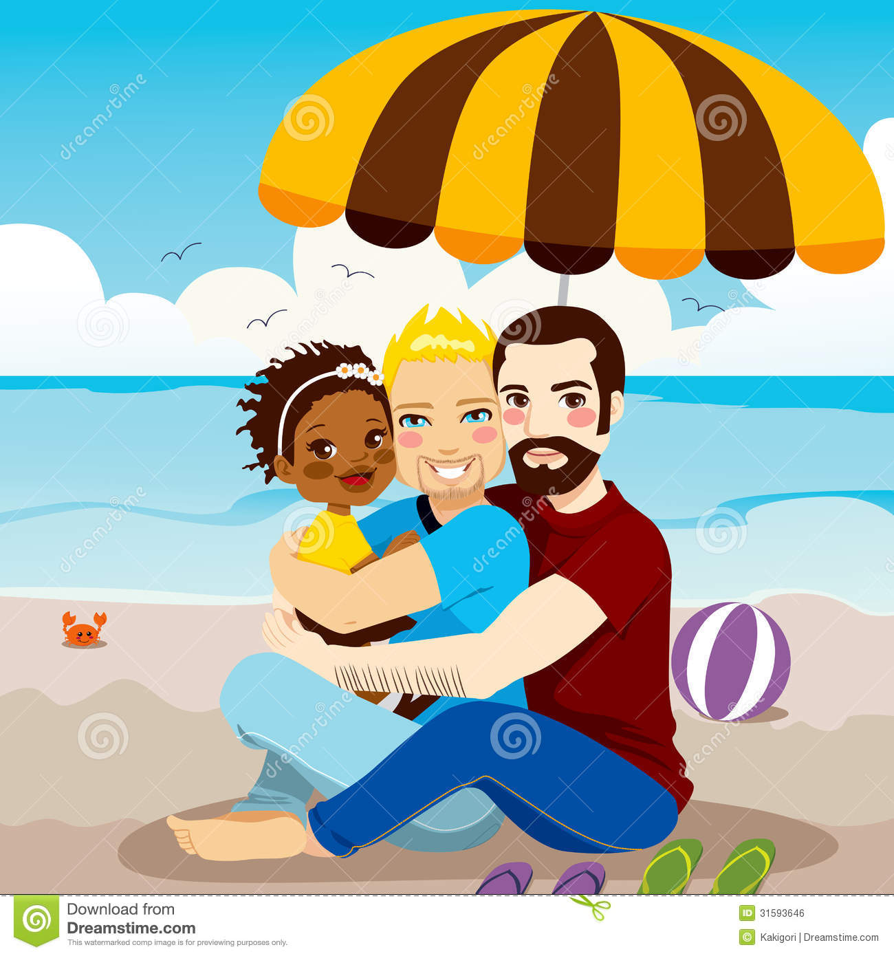 Download royalty free Happy gay family women and baby vector