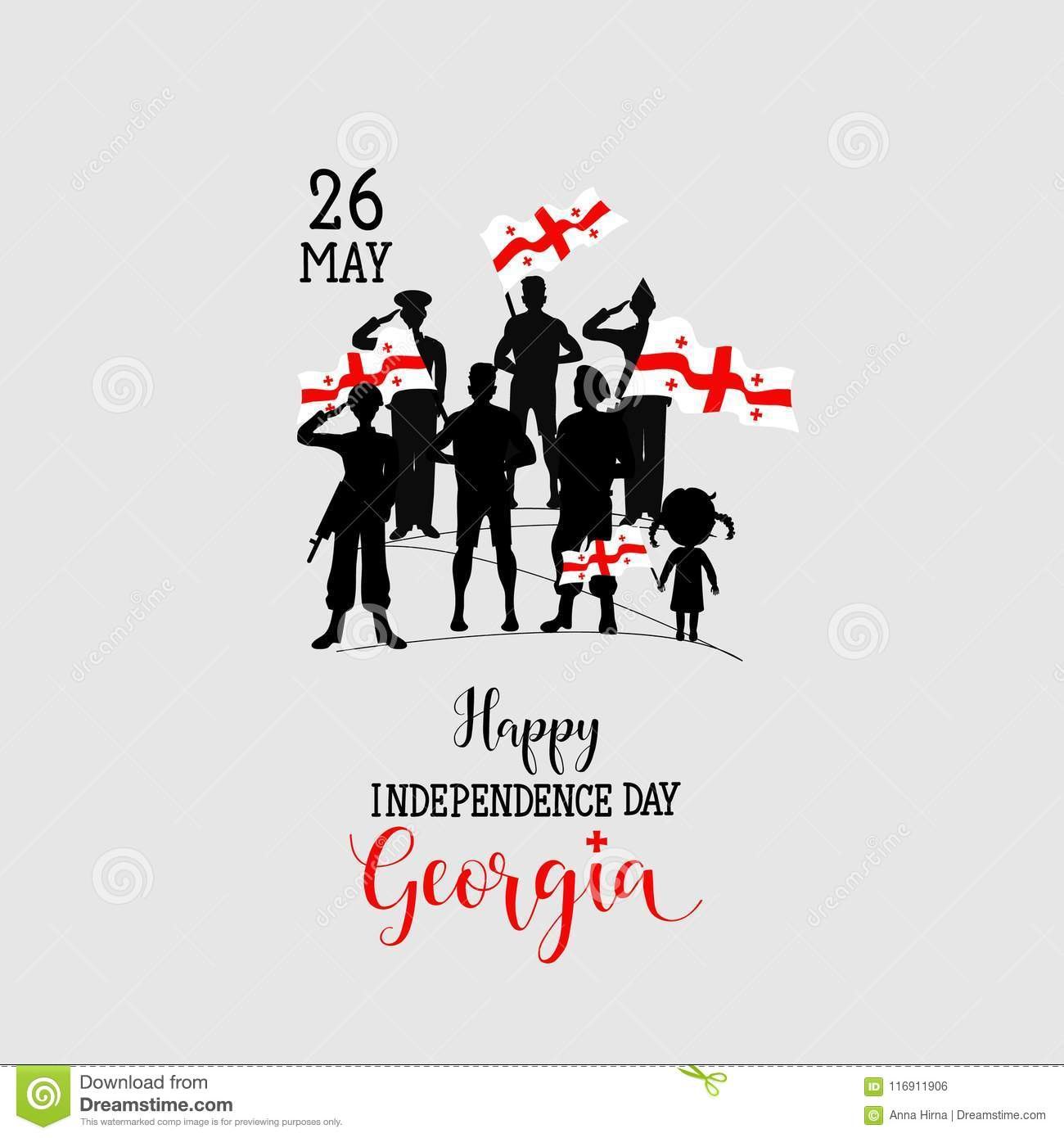 Happy Georgia Independence Day Graphic Design Element Stock
