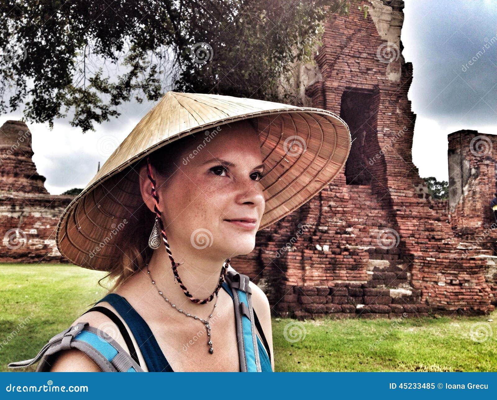 Happy girl in Ayutthaya, Thailand