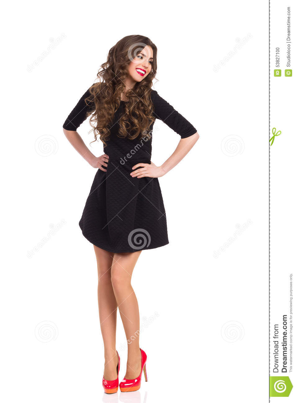 Happy Girl In Black Mini Dress And Red High Heels Stock Photo ...