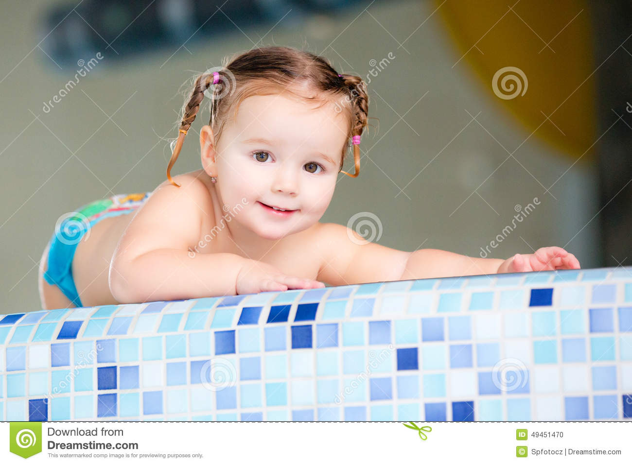 Happy girl child baby in swimming pool stock photo image for Cute pool pictures