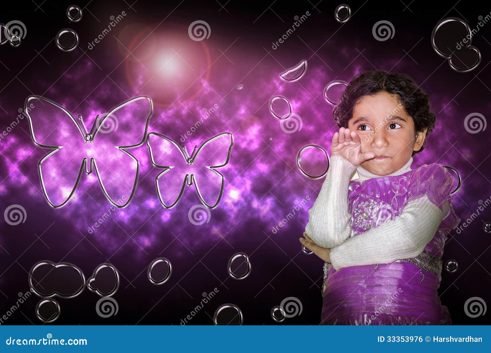 Purple Baby Girl Background