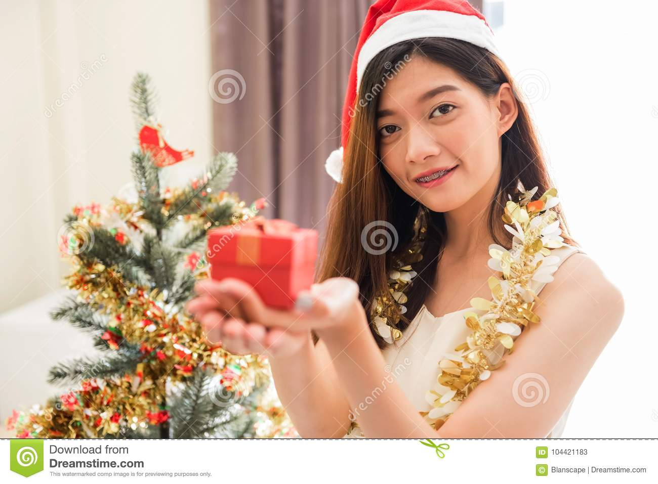 Happy Girl With Christmas Gift Stock Image - Image of home, december ...