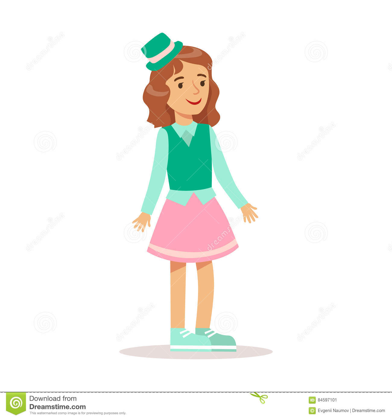 c941d1697 Happy Girl In Classic Girly Color Clothes With Green Top Hat Smiling  Cartoon Character