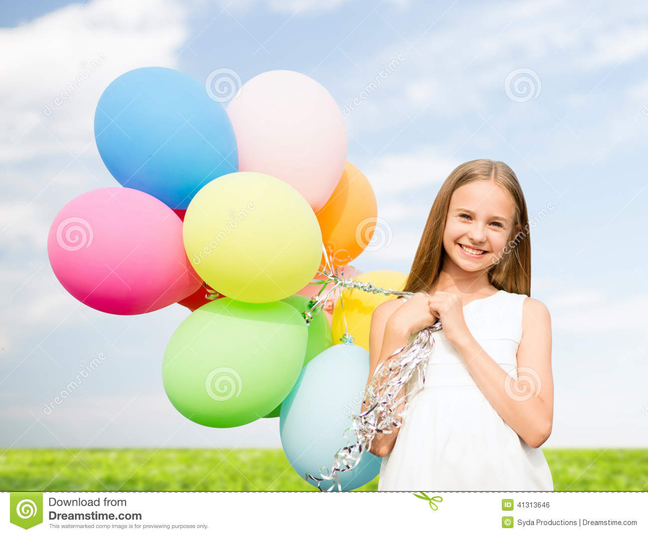 a428bf1e1 Happy Girl With Colorful Balloons Stock Photo - Image of adorable ...