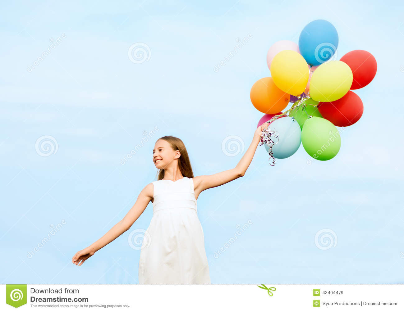 c51cb6ad9 Happy Girl With Colorful Balloons Stock Image - Image of flying ...