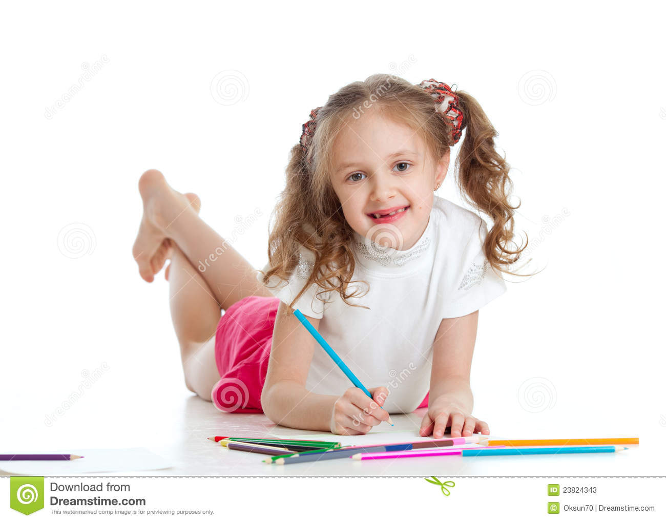 Happy Girl Drawing With Color Pencils Stock Photos - Image ...