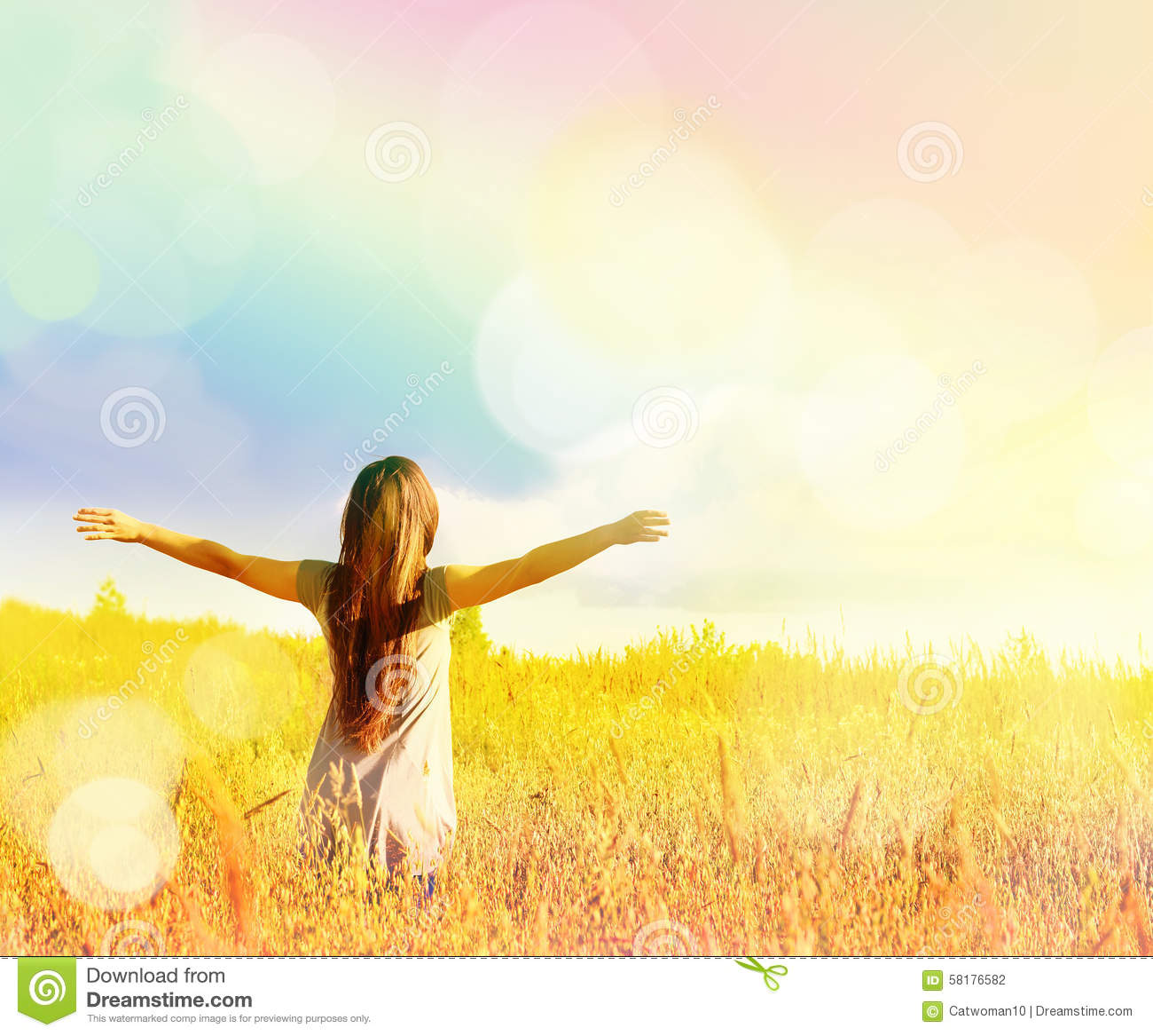 happy girl enjoying the happiness on sunny meadow stock intercessory prayer clipart free prayer clipart free