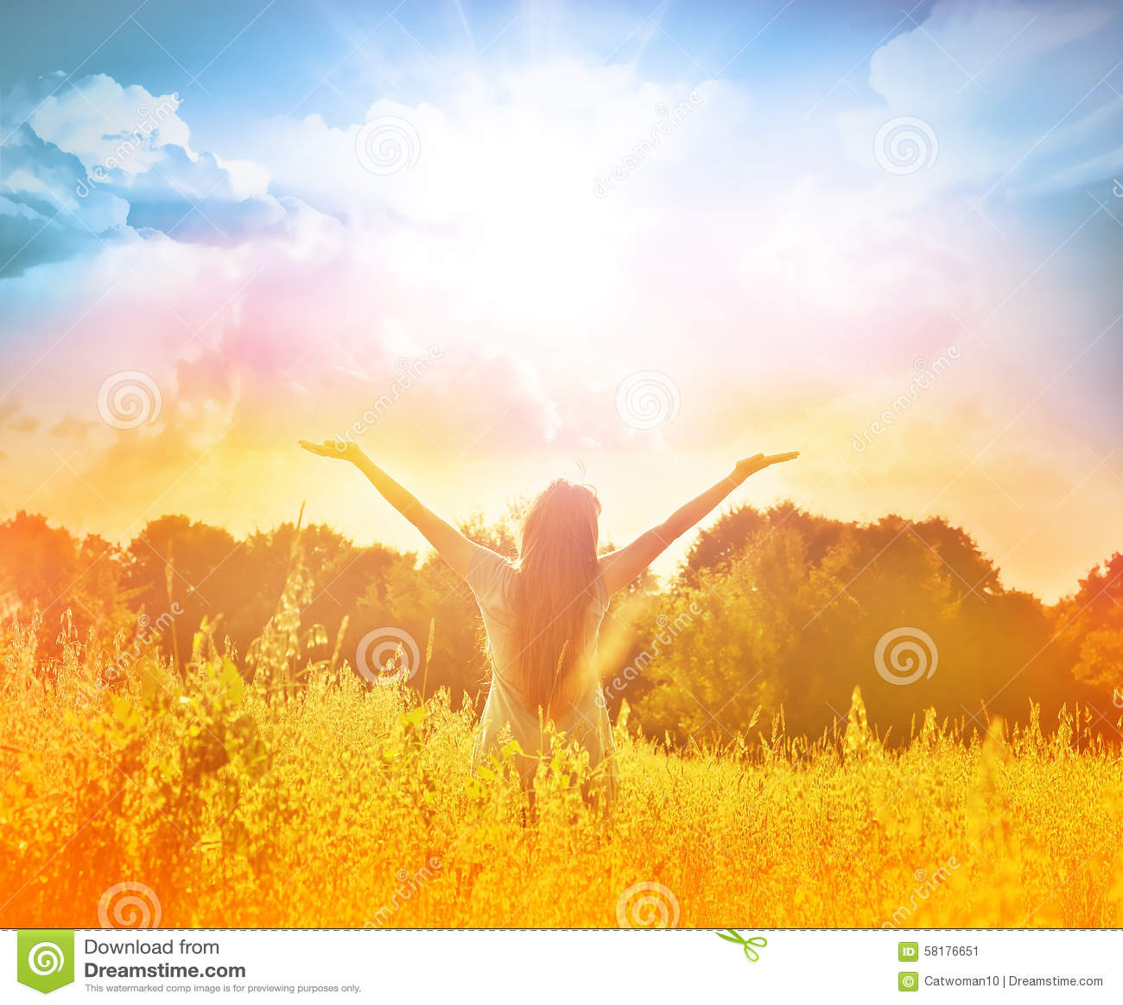 Happy Beautiful Woman Enjoying At Beach Stock Photo: Happy Girl Enjoying The Happiness On Sunny Meadow Stock