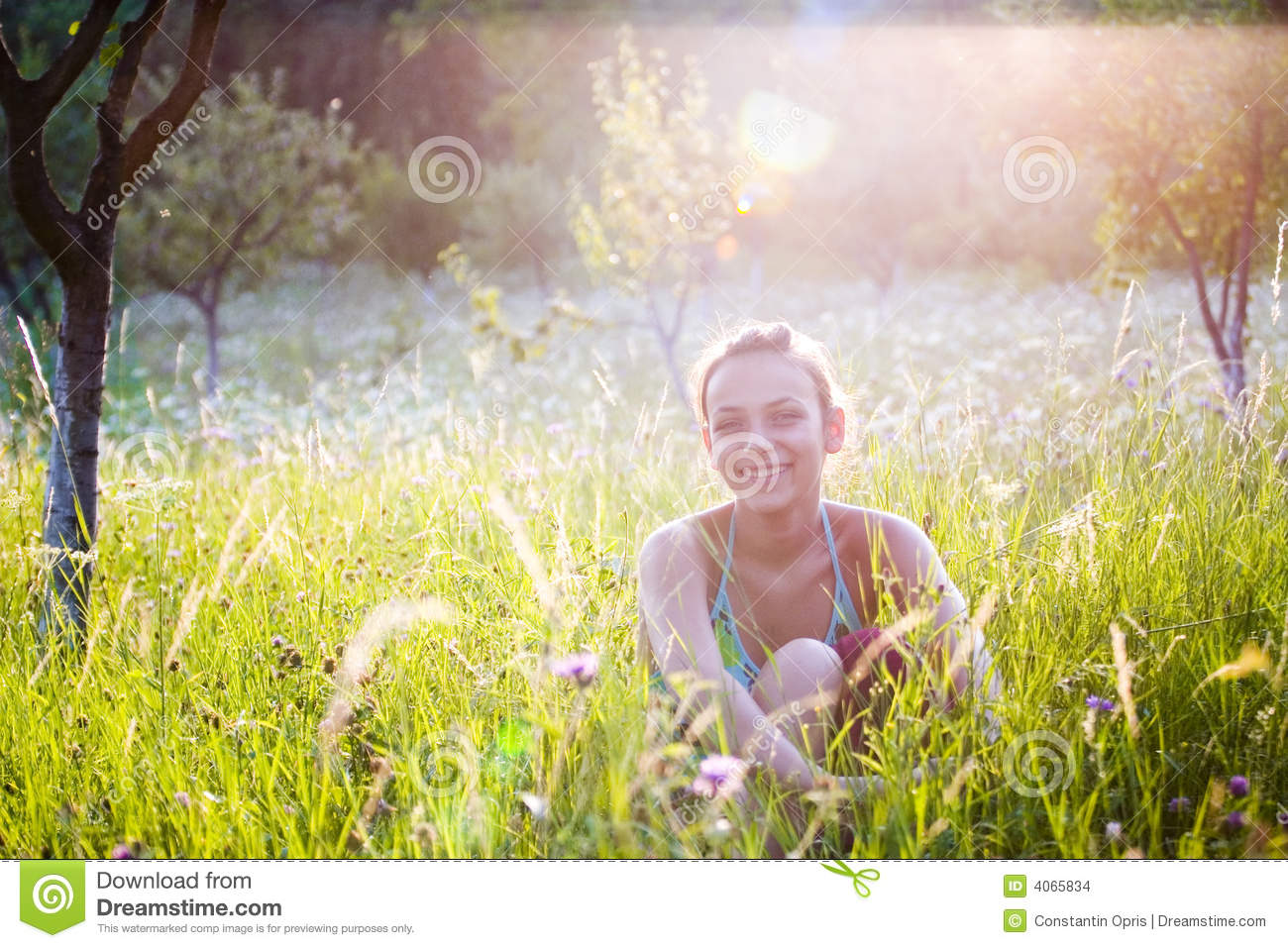 Looking For Spring Greenery On Sunny >> Happy Girl In Garden Stock Images - Image: 4065834