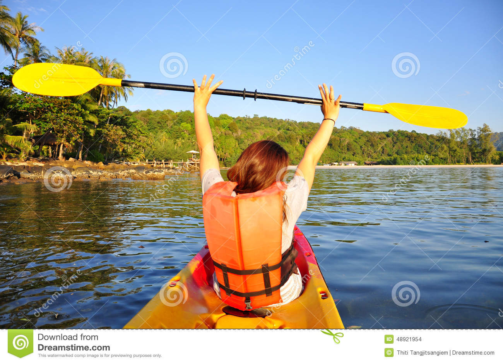 happy girl having fun on kayak stock photo image of male girl