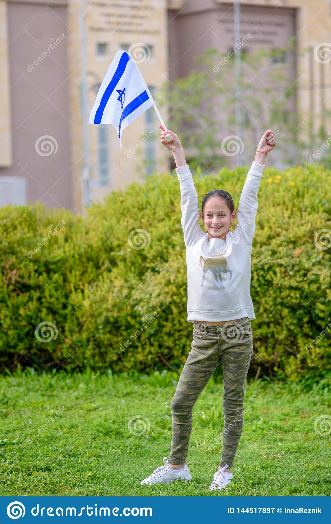 Happy Girl with Israel flag.