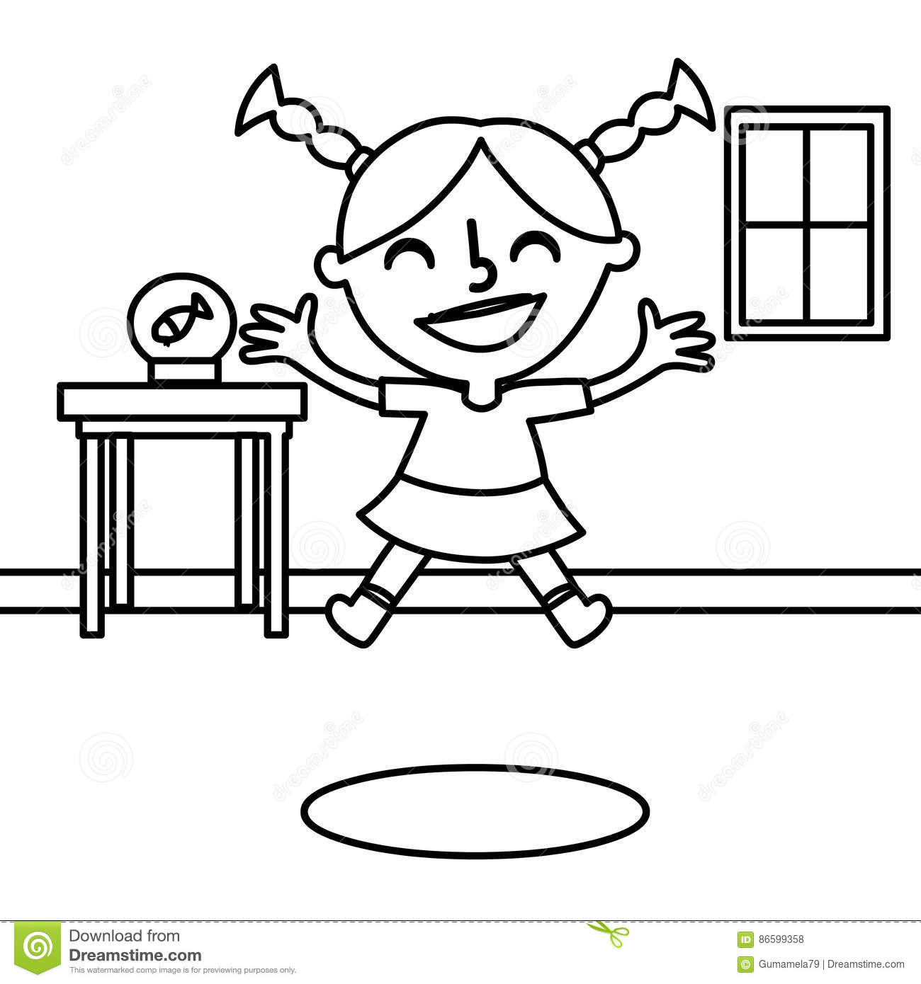happy jumping coloring page stock illustration image 86599358