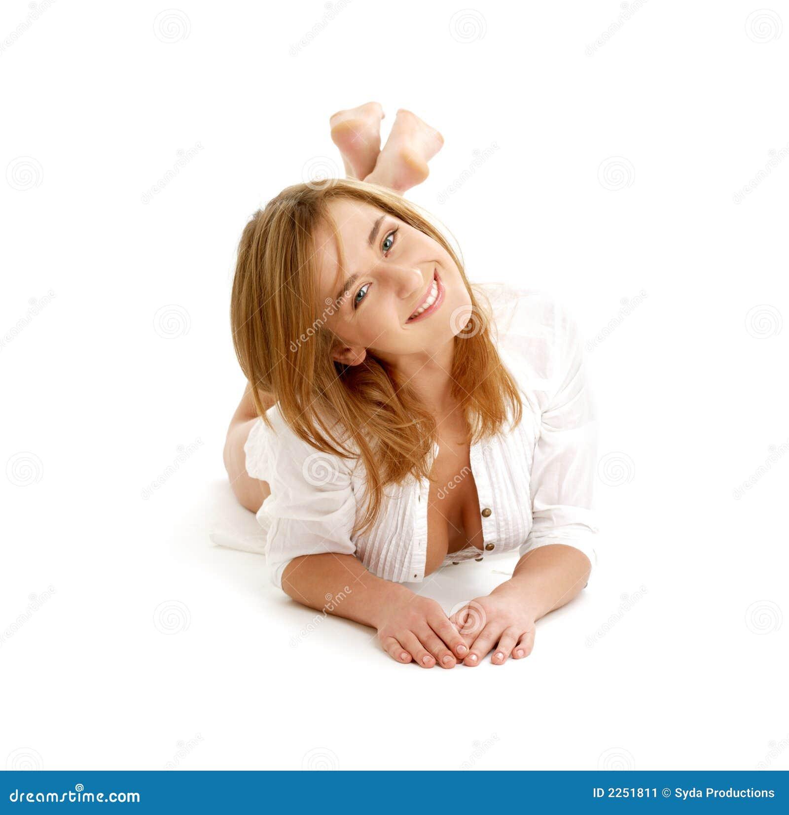 Happy Girl Laying On The Floor Stock Image