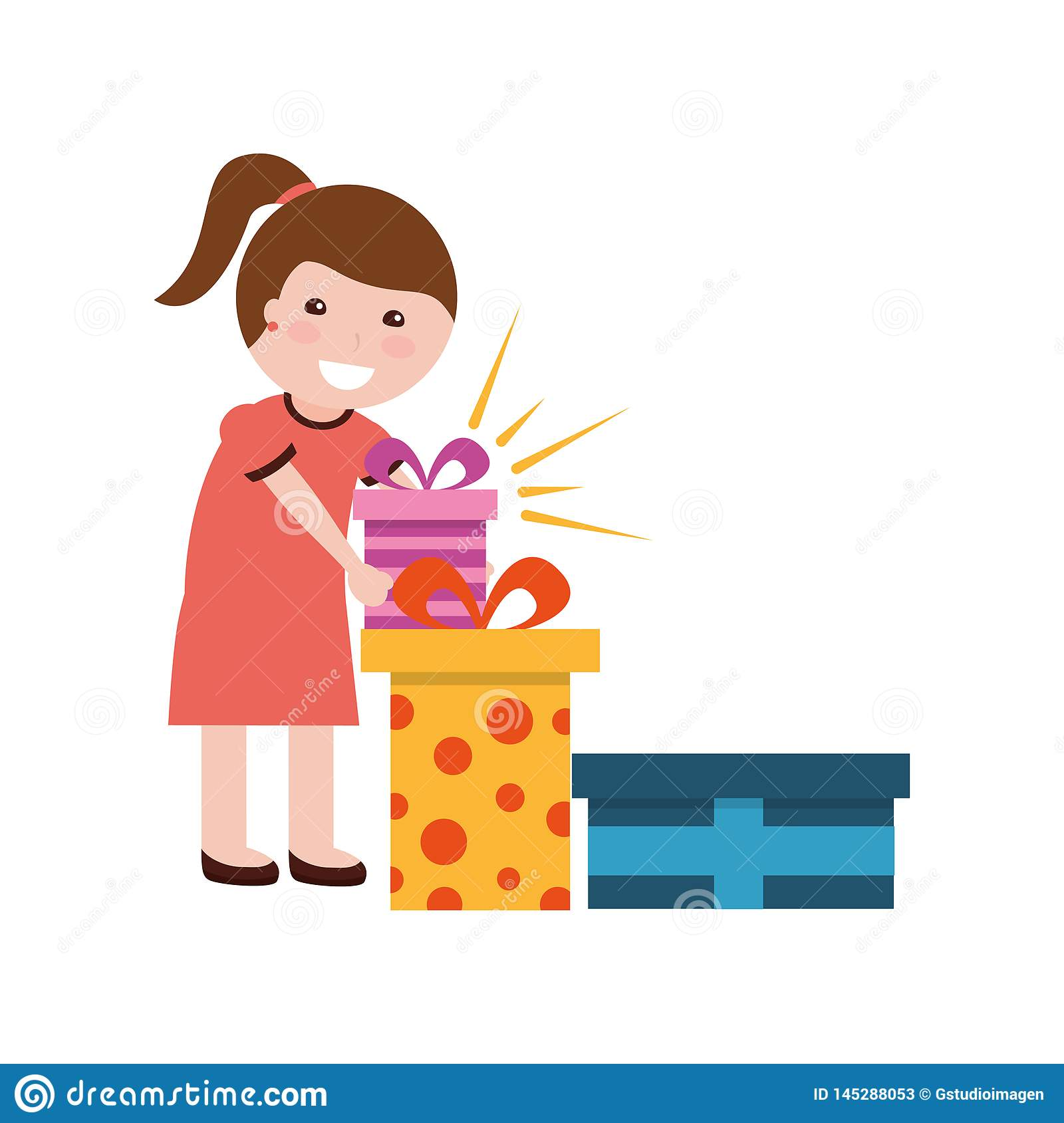 Happy girl with many gift boxes birthday