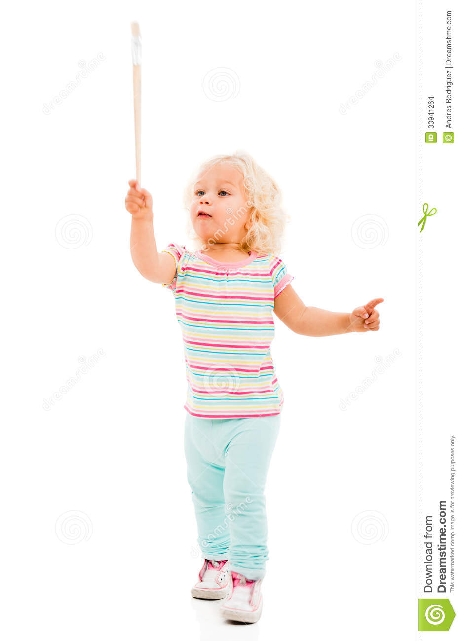 happy girl painting stock photo  image of kindergarten