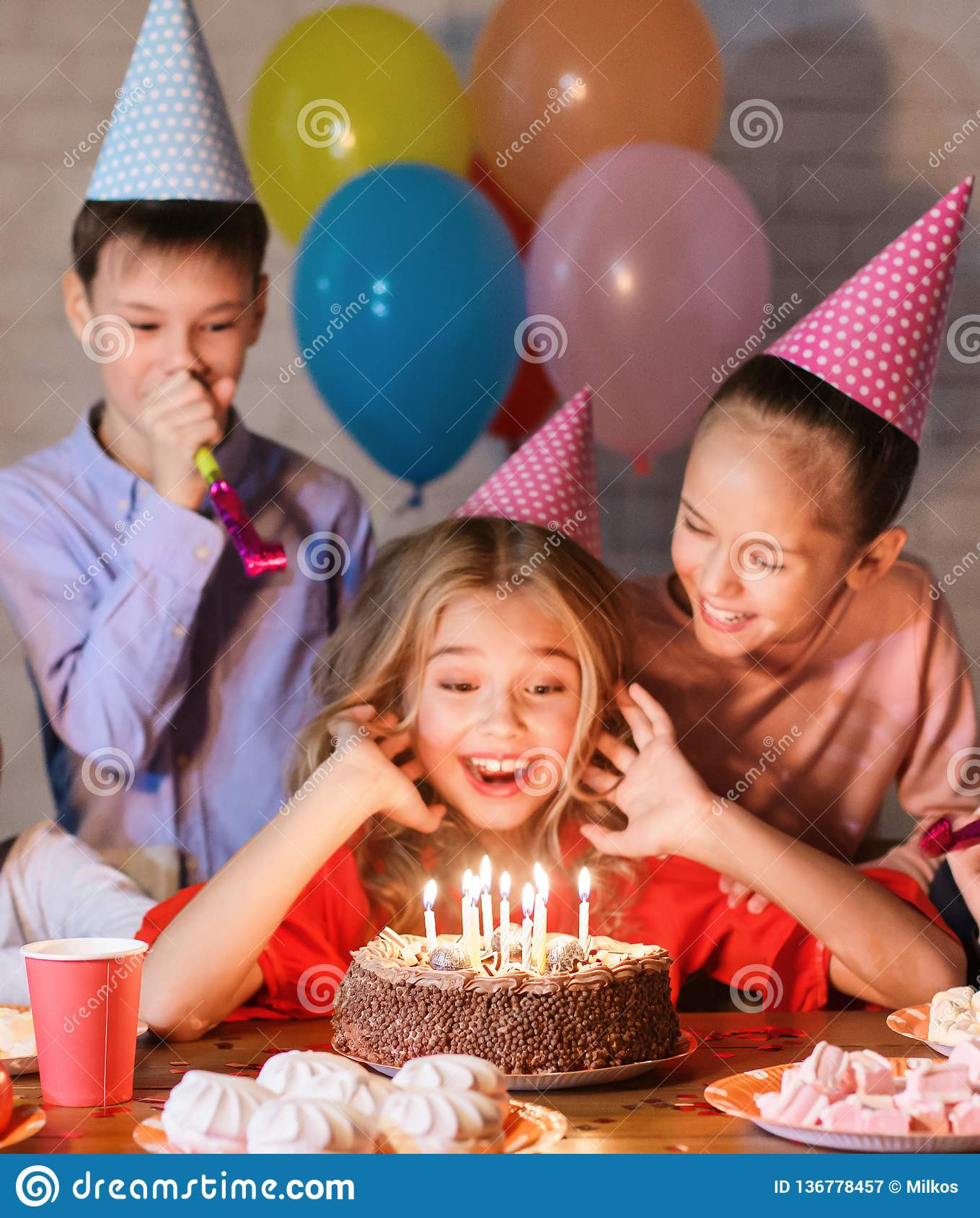 Prime Happy Girl In Party Hat With Birthday Cake Stock Image Image Of Personalised Birthday Cards Petedlily Jamesorg