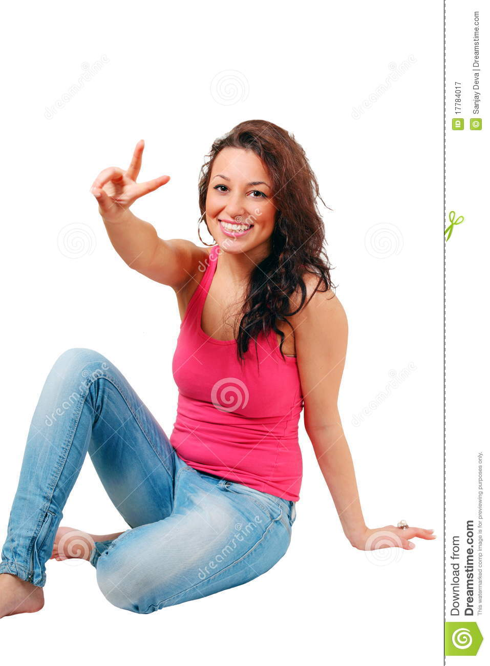 Girl with peace sign