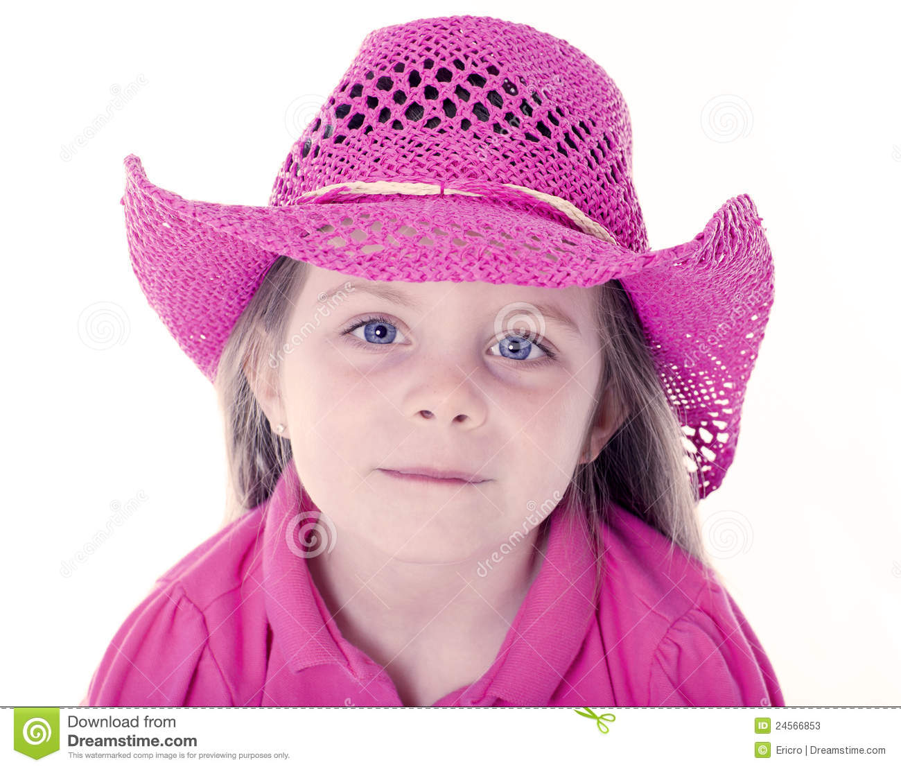 Happy girl with pink cowboy hat