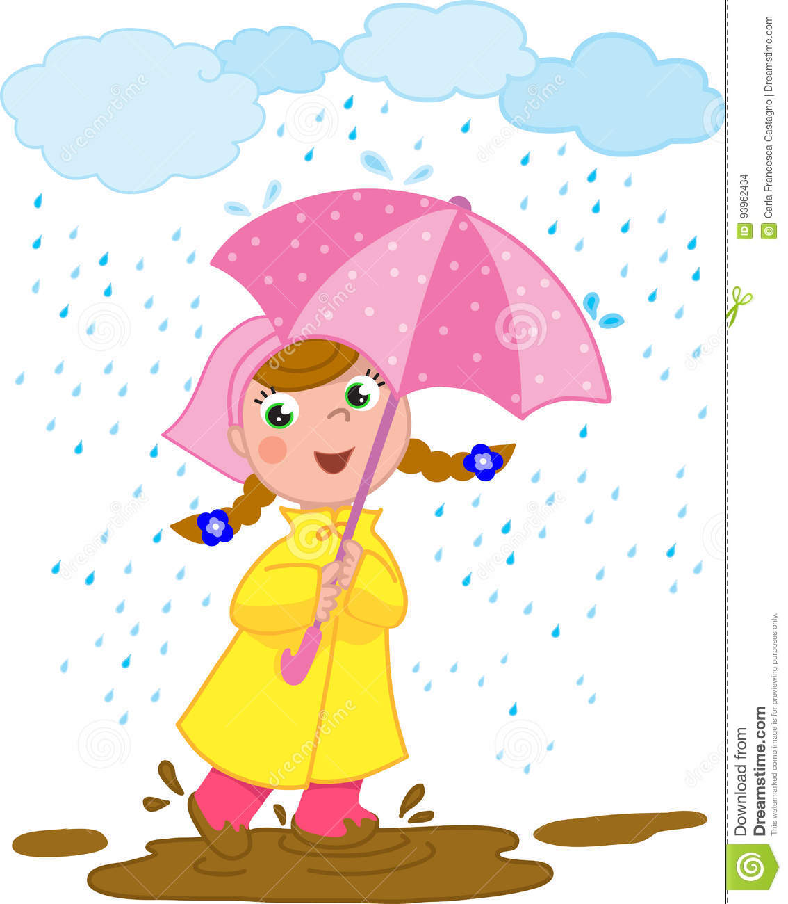 Happy Girl Playing In The Rain Stock Vector - Illustration ...