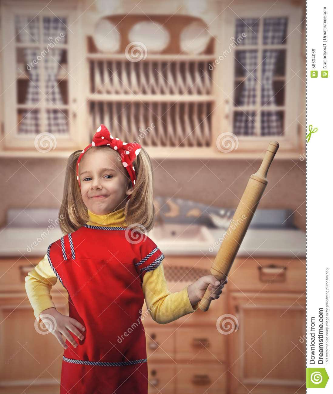 Happy Girl With Rolling-pin Stock Photo