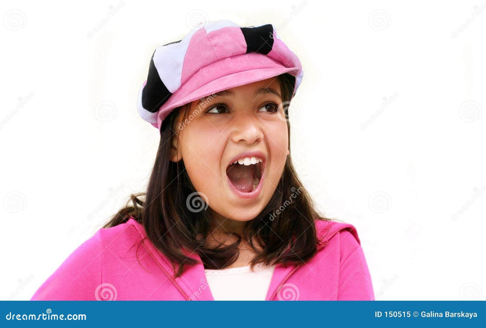 Happy girl screaming