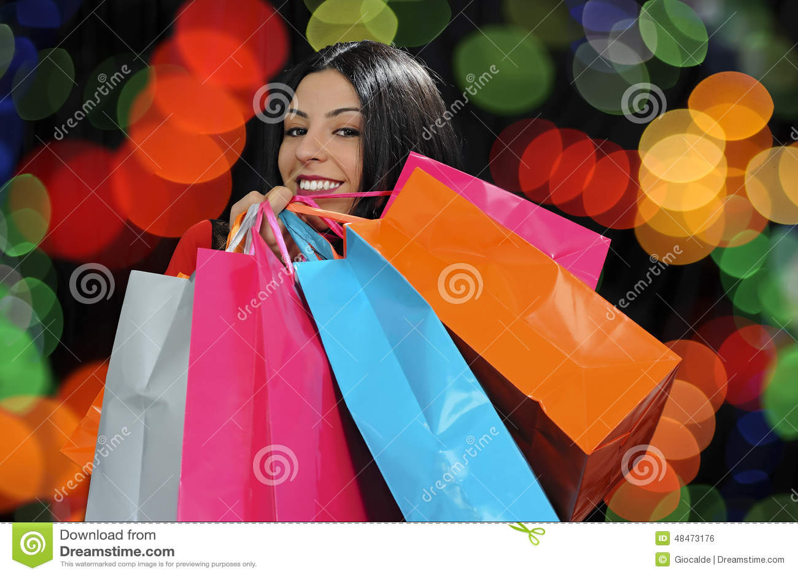 Happy girl shopping