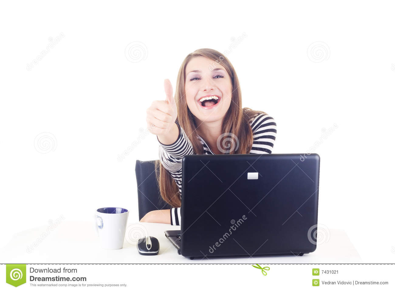 Download Happy Girl Showing Thump Up Stock Image - Image of copy, beautiful: 7431021