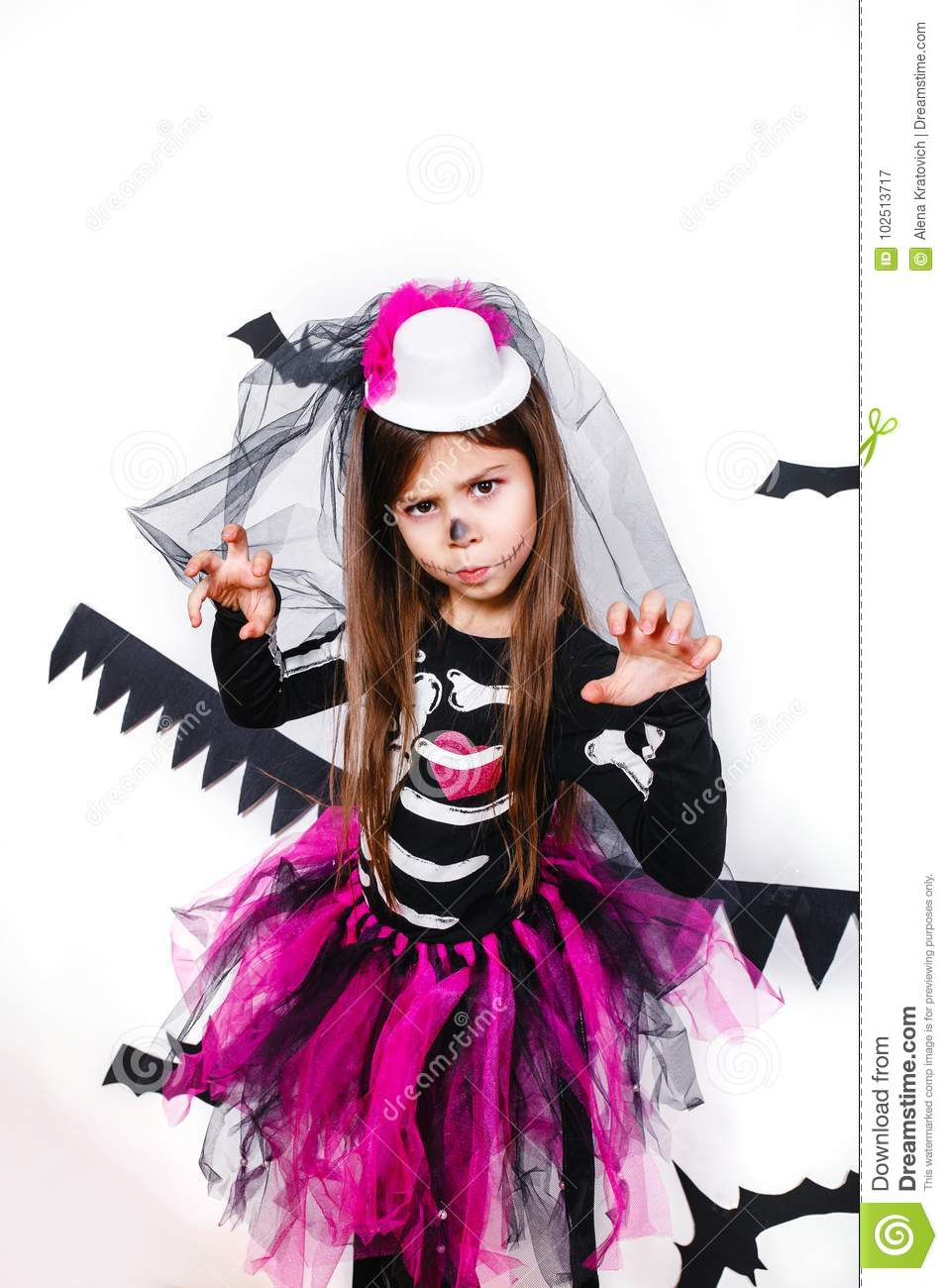 Download comp  sc 1 st  Dreamstime.com & Happy Girl In A Skeleton Costume Having Fun Stock Image - Image of ...